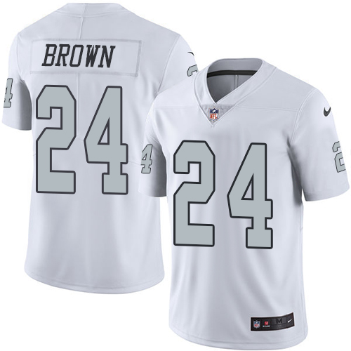 Nike Raiders #24 Willie Brown White Men's Stitched NFL Limited Rush Jersey