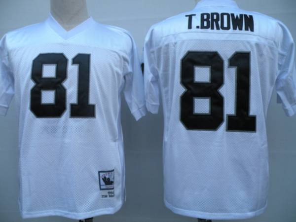 Mitchell and Ness Raiders #81 Tim Brown White Stitched Throwback NFL Jersey