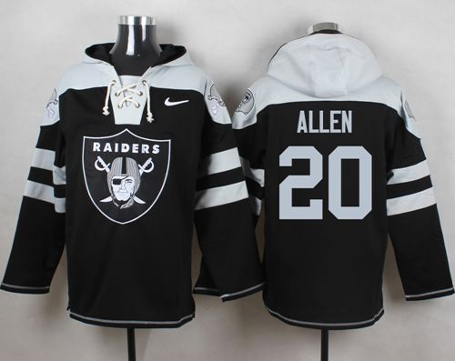 Nike Raiders #20 Nate Allen Black Player Pullover NFL Hoodie