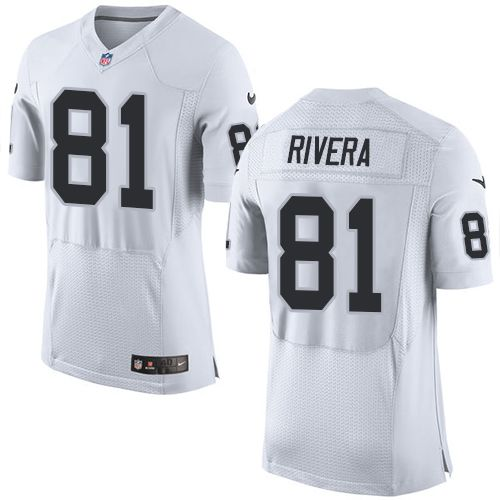 Nike Raiders #81 Mychal Rivera White Men's Stitched NFL New Elite Jersey