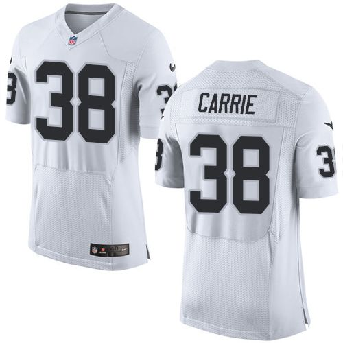Nike Raiders #38 T.J. Carrie White Men's Stitched NFL New Elite Jersey