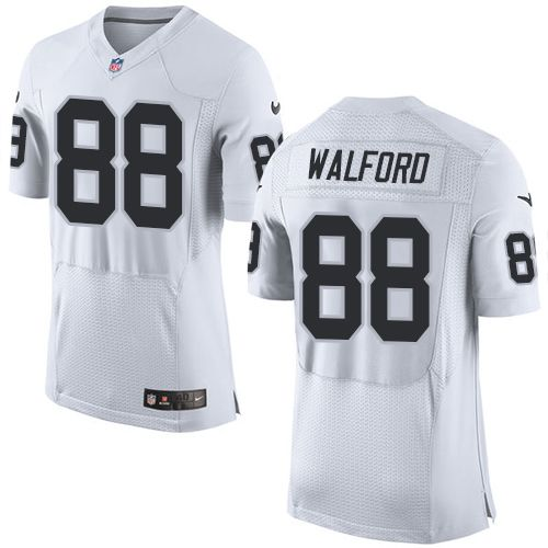 Nike Raiders #88 Clive Walford White Men's Stitched NFL New Elite Jersey