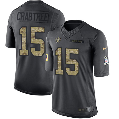 Nike Raiders #15 Michael Crabtree Black Men's Stitched NFL Limited 2016 Salute To Service Jersey