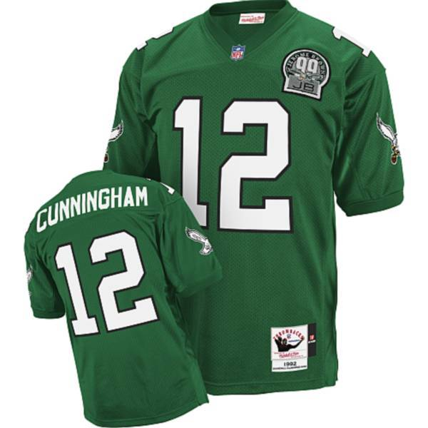 Mitchell&Ness Eagles #12 Randall Cunningham Green Stitched Throwback NFL Jersey