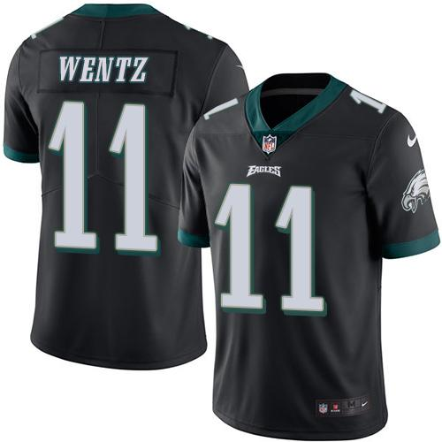 Nike Eagles #11 Carson Wentz Black Men's Stitched NFL Limited Rush Jersey