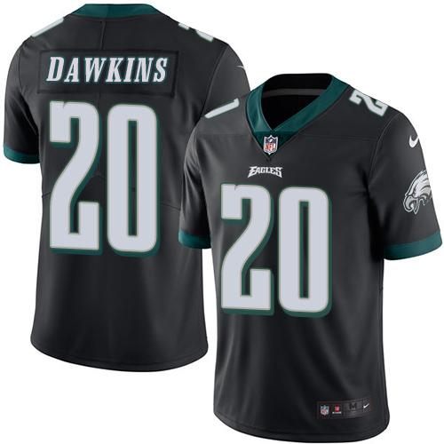 Nike Eagles #20 Brian Dawkins Black Men's Stitched NFL Limited Rush Jersey
