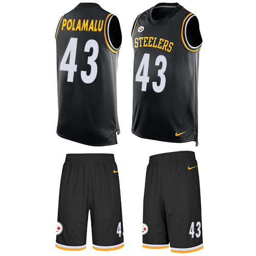 Nike Steelers #43 Troy Polamalu Black Team Color Men's Stitched NFL Limited Tank Top Suit Jersey