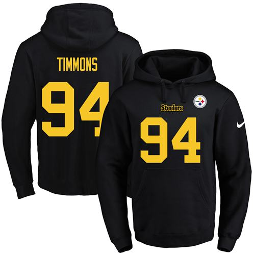 Nike Steelers #94 Lawrence Timmons Black(Gold No.) Name & Number Pullover NFL Hoodie