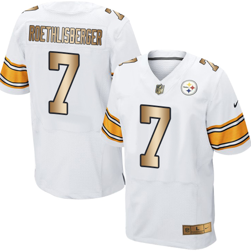 Nike Steelers #7 Ben Roethlisberger White Men's Stitched NFL Elite Gold Jersey