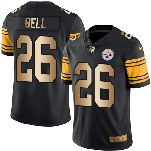 Nike Steelers #26 Le'Veon Bell Black Men's Stitched NFL Limited Gold Rush Jersey
