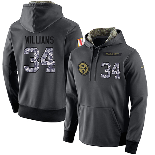 NFL Men's Nike Pittsburgh Steelers #34 DeAngelo Williams Stitched Black Anthracite Salute to Service Player Performance Hoodie