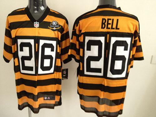 Nike Steelers #26 Le'Veon Bell Yellow/Black Alternate 80TH Throwback Men's Stitched NFL Elite Jersey