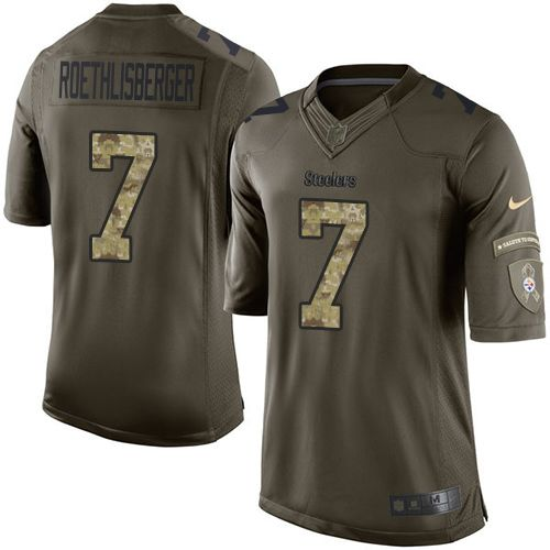 Nike Steelers #7 Ben Roethlisberger Green Men's Stitched NFL Limited Salute to Service Jersey