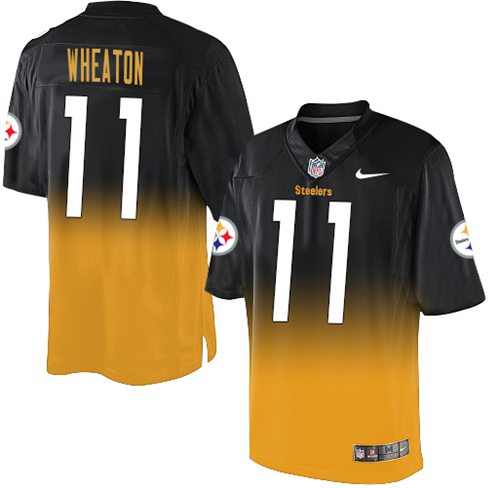 Nike Steelers #11 Markus Wheaton Black/Gold Men's Stitched NFL Elite Fadeaway Fashion Jersey