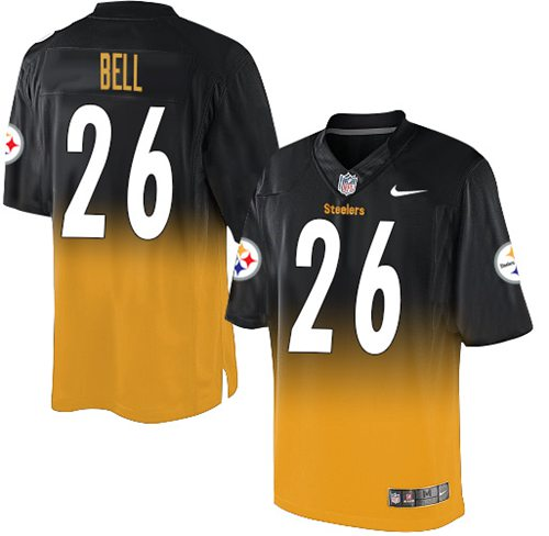 Nike Steelers #26 Le'Veon Bell Black/Gold Men's Stitched NFL Elite Fadeaway Fashion Jersey