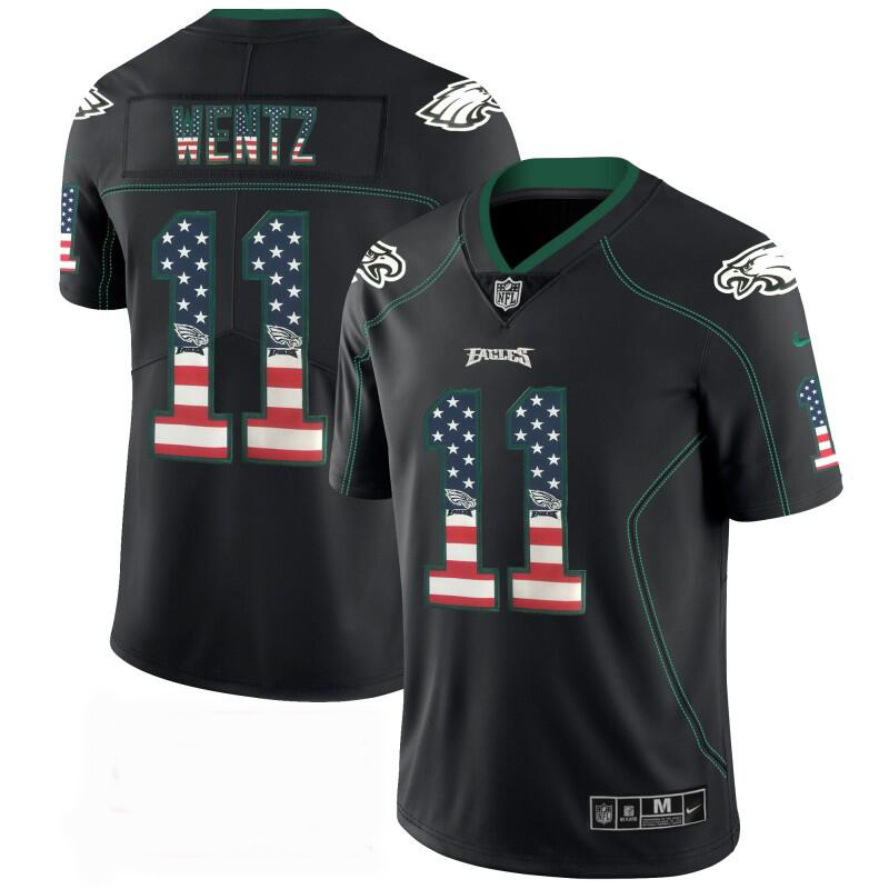 Men's Eagles #11 Carson Wentz Black USA Flag Color Rush Limited Fashion NFL Stitched Jersey