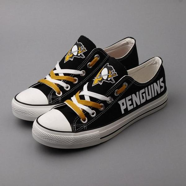 All Sizes NHL Pittsburgh Penguins Repeat Print Low Top Sneakers 002