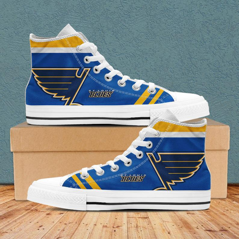 Women and Youth NHL St. Louis Blues Repeat Print High Top Sneakers
