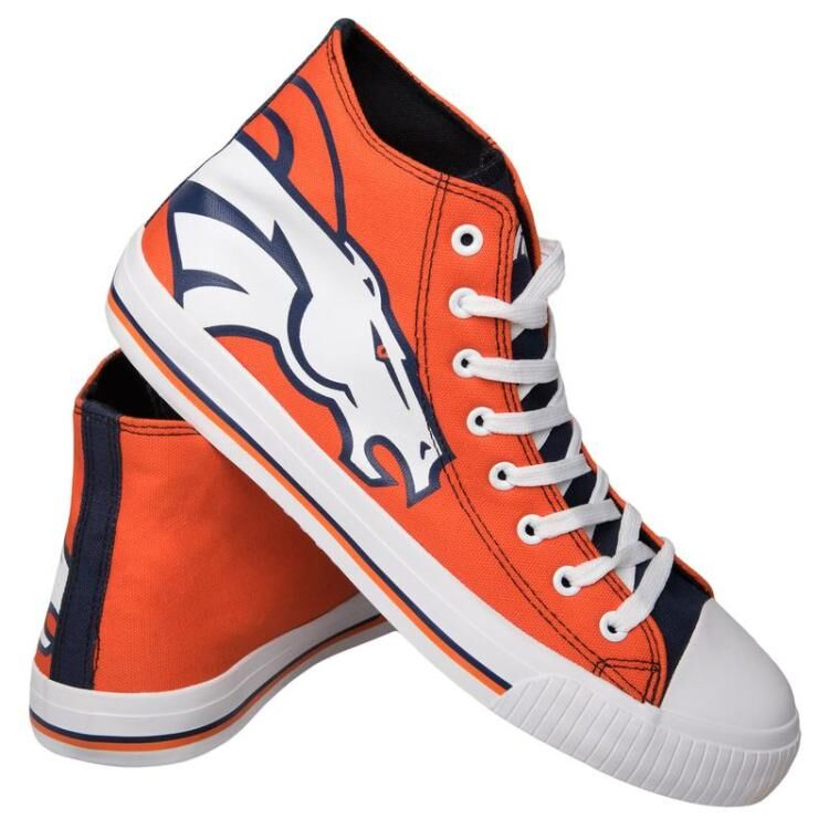 Women Or Youth NFL Denver Broncos Repeat Print High Top Sneakers