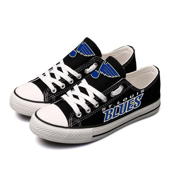 Women And Youth NHL St. Louis Blues Repeat Print Low Top Sneakers 005