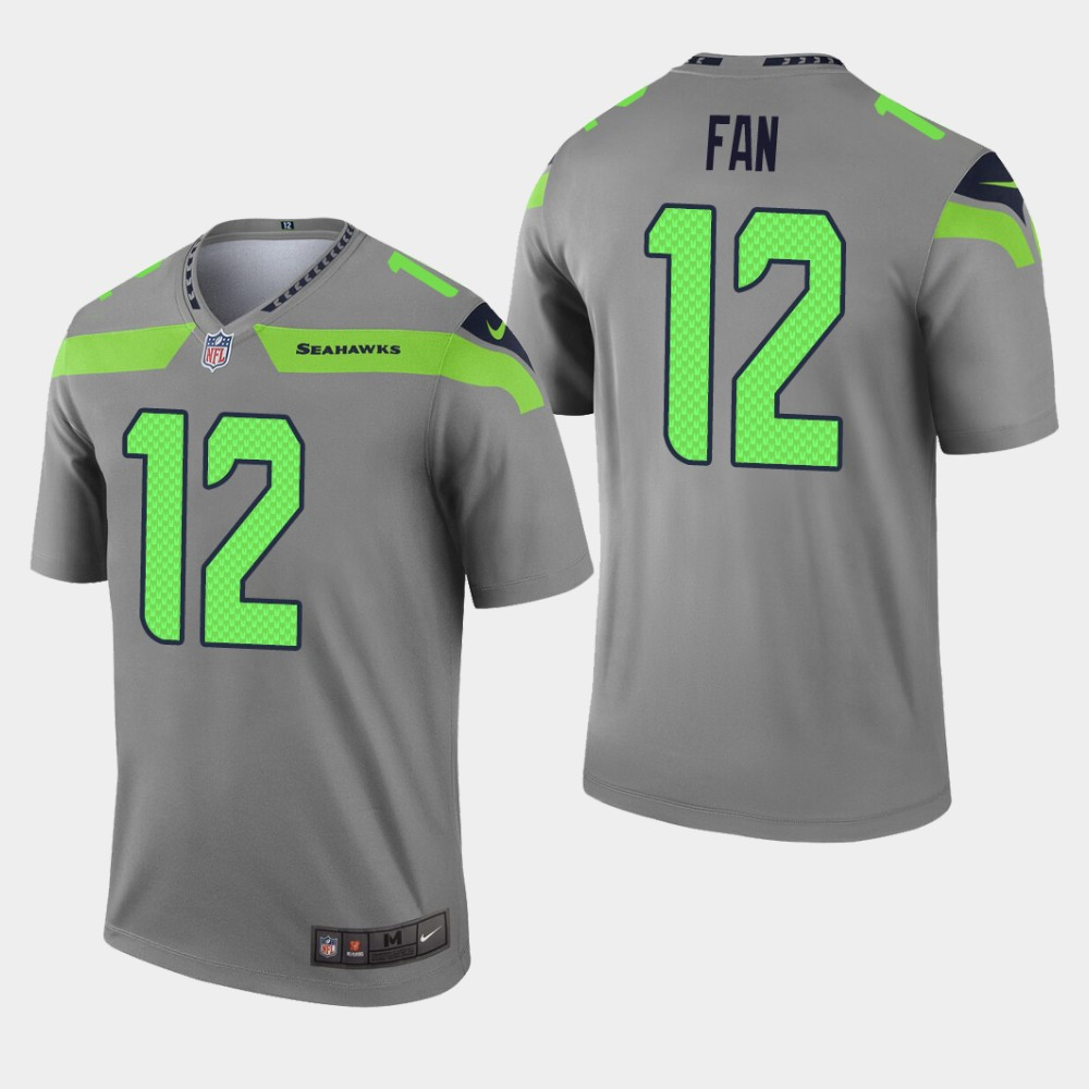 Men's Seattle Seahawks #12 Fan Gray Inverted Legend Jersey