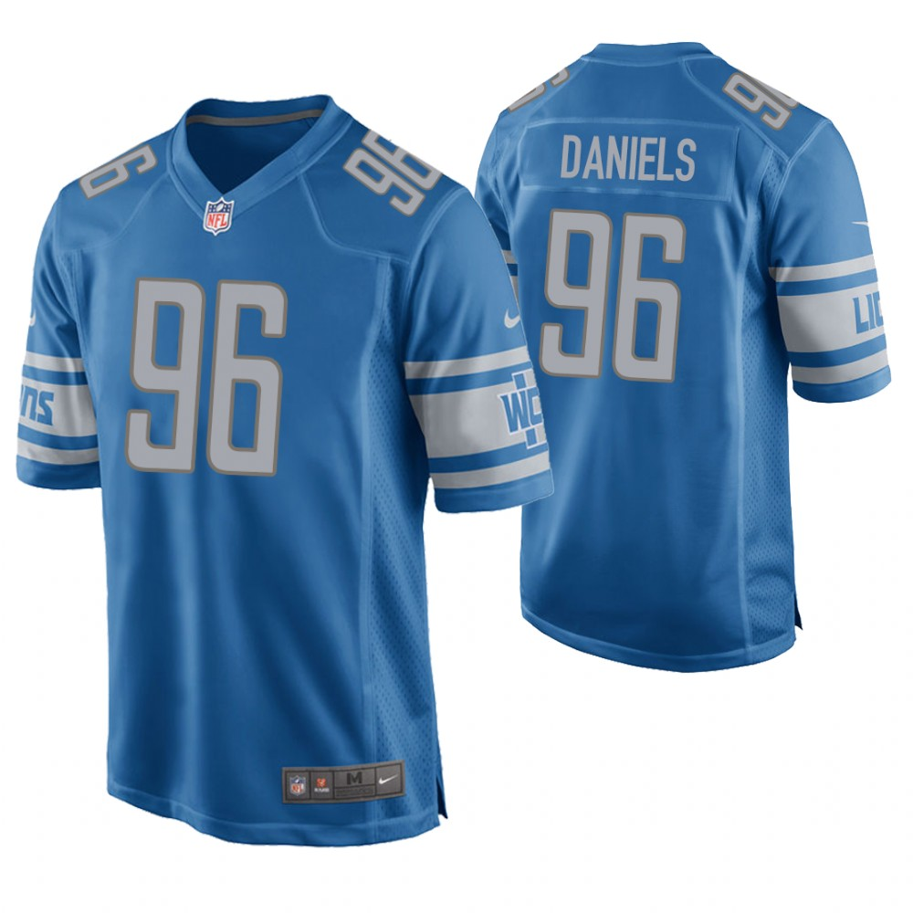 Men's Detroit Lions #96 Mike Daniels Blue Stitched NFL Jersey