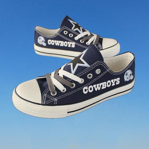 Women Or Youth NFL Dalls Cowboys Repeat Print Low Top Sneakers 014