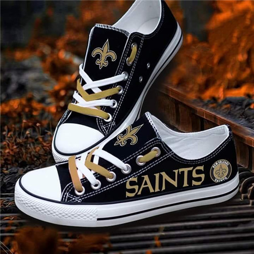 Women and Youth NFL New Orleans Saints Repeat Print Low Top Sneakers 004