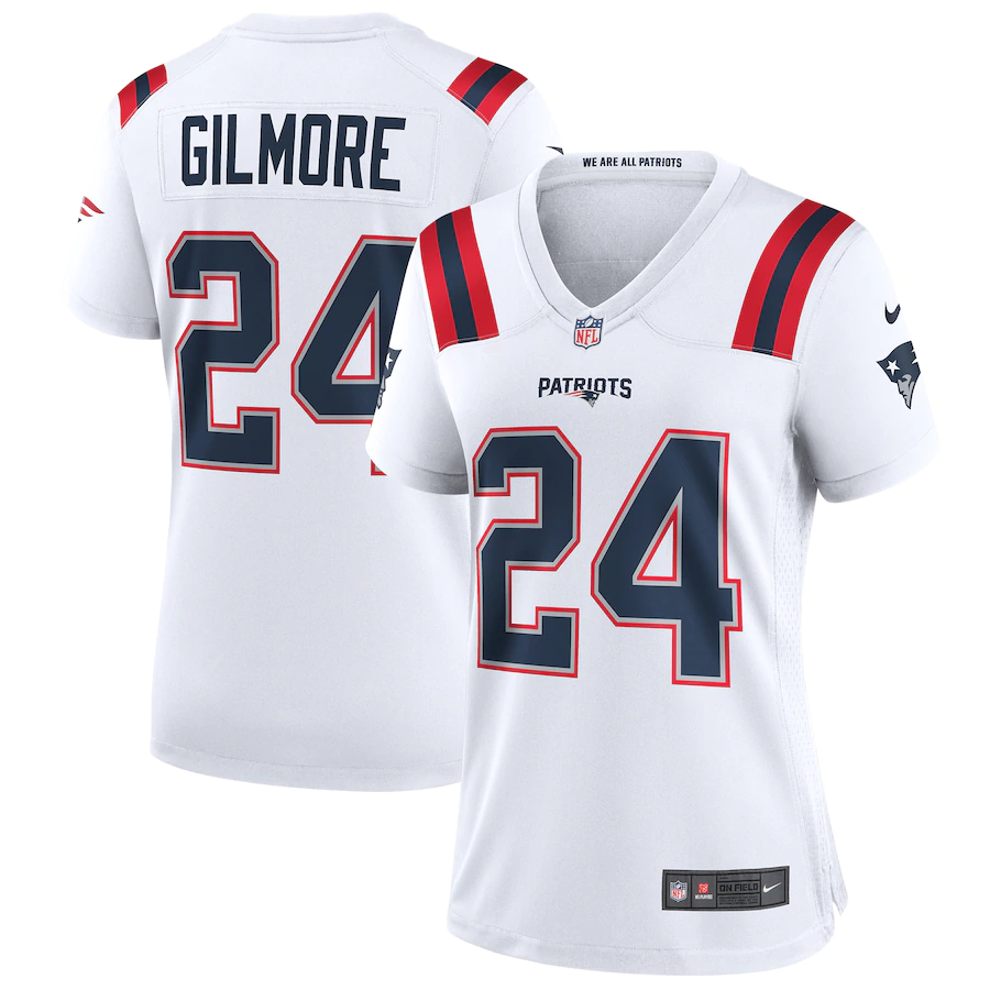 Women's New England Patriots #24 Stephon Gilmore White Stitched NFL Jersey