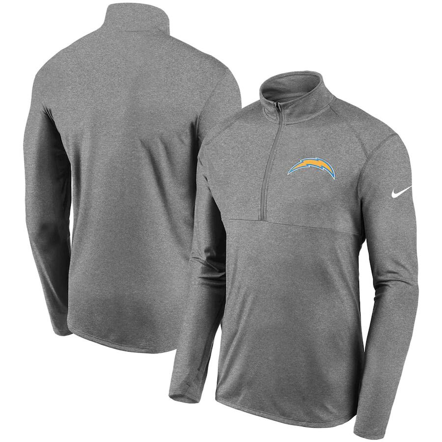 Men's Los Angeles Chargers Heathered Gray Fan Gear Element Performance Half-Zip Pullover Jacket