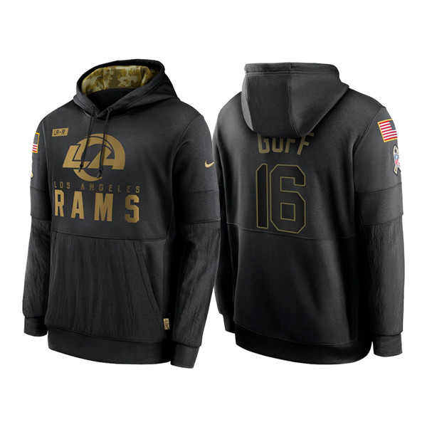 Men's Los Angeles Rams #16 Jared Goff 2020 Black Salute to Service Sideline Performance Pullover Hoodie