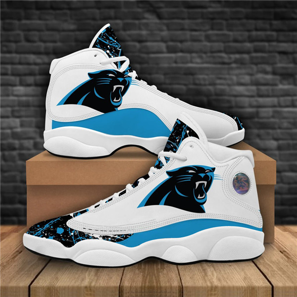 Men's Carolina Panthers AJ13 Series High Top Leather Sneakers 001
