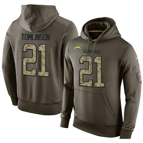 NFL Men's Nike San Diego Chargers #21 LaDainian Tomlinson Stitched Green Olive Salute To Service KO Performance Hoodie