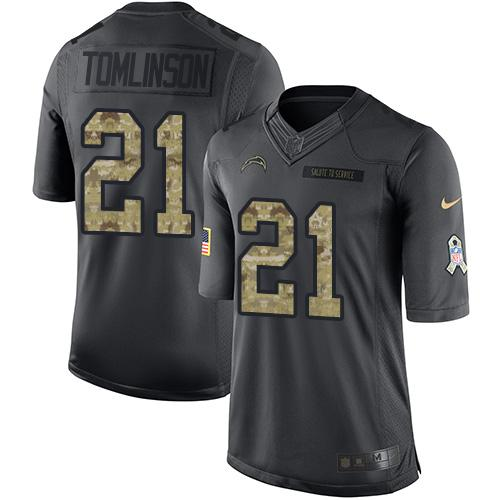 Nike Chargers #21 LaDainian Tomlinson Black Men's Stitched NFL Limited 2016 Salute to Service Jersey