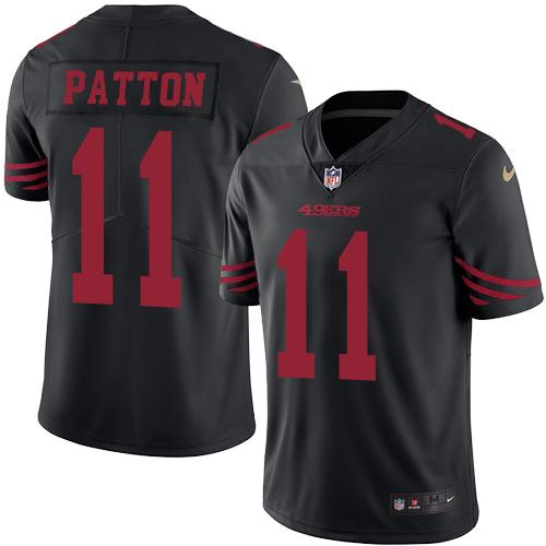 Nike 49ers #11 Quinton Patton Black Men's Stitched NFL Limited Rush Jersey