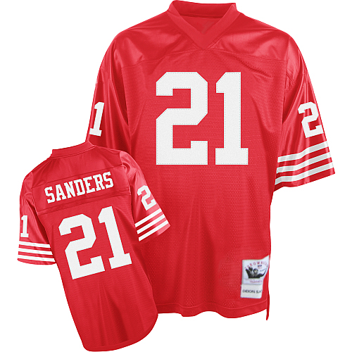 Mitchell and Ness 49ers #21 Deion Sanders Stitched Red NFL Jersey
