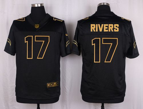 Nike Chargers #17 Philip Rivers Black Men's Stitched NFL Elite Pro Line Gold Collection Jersey
