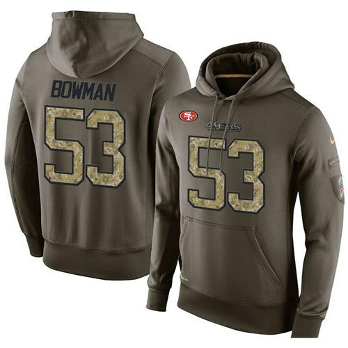 NFL Men's Nike San Francisco 49ers #53 NaVorro Bowman Stitched Green Olive Salute To Service KO Performance Hoodie