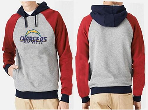 San Diego Chargers Authentic Logo Pullover Hoodie Grey & Red