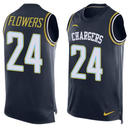 Nike Chargers #24 Brandon Flowers Navy Blue Team Color Men's Stitched NFL Limited Tank Top Jersey