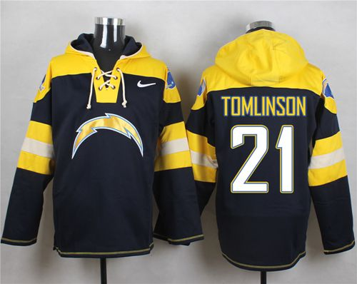 Nike Chargers #21 LaDainian Tomlinson Navy Blue Player Pullover NFL Hoodie