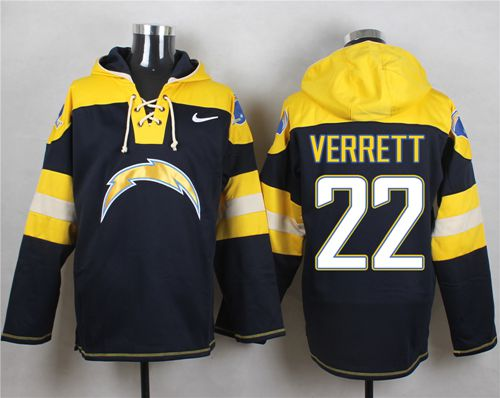 Nike Chargers #22 Jason Verrett Navy Blue Player Pullover NFL Hoodie