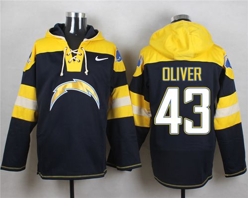 Nike Chargers #43 Branden Oliver Navy Blue Player Pullover NFL Hoodie