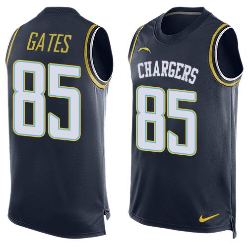 Nike Chargers #85 Antonio Gates Navy Blue Team Color Men's Stitched NFL Limited Tank Top Jersey