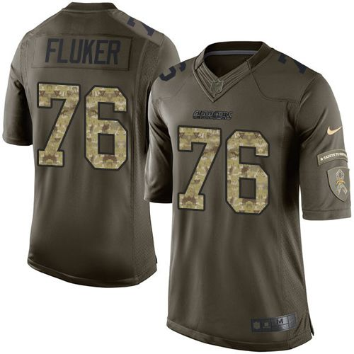 Nike Chargers #76 D.J. Fluker Green Men's Stitched NFL Limited Salute to Service Jersey