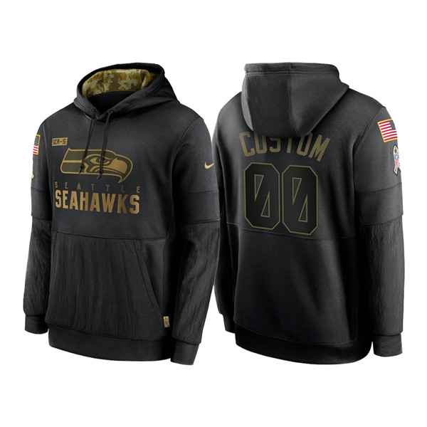 Men's Seattle Seahawks ACTIVE PLAYER Custom 2020 Black Salute To Service Sideline Performance Pullover NFL Hoodie