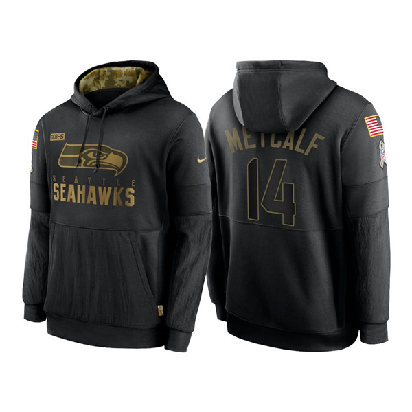 Men's Seattle Seahawks #14 D.K. Metcalf 2020 Black Salute to Service Sideline Performance Pullover Hoodie