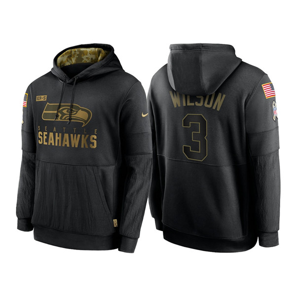 Men's Seattle Seahawks #3 Russell Wilson 2020 Black Salute to Service Sideline Performance Pullover Hoodie