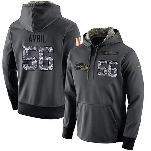 NFL Men's Nike Seattle Seahawks #56 Cliff Avril Stitched Black Anthracite Salute to Service Player Performance Hoodie