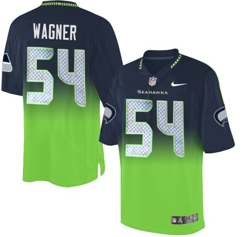 Nike Seahawks #54 Bobby Wagner Steel Blue/Green Men's Stitched NFL Elite Fadeaway Fashion Jersey